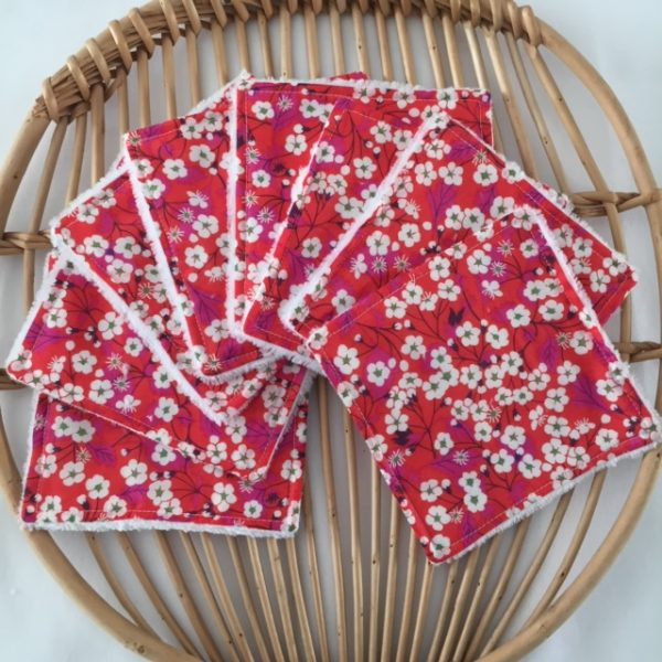 Lingettes lavables « Liberty Mitsi rouge »